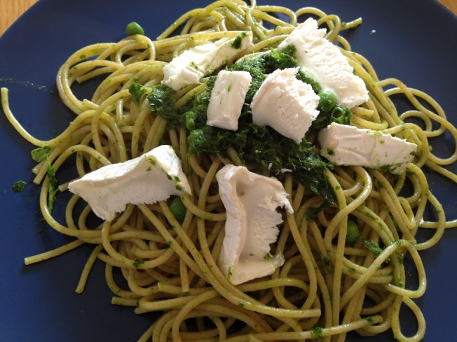 Kale pesto with spaghetti and goats cheese