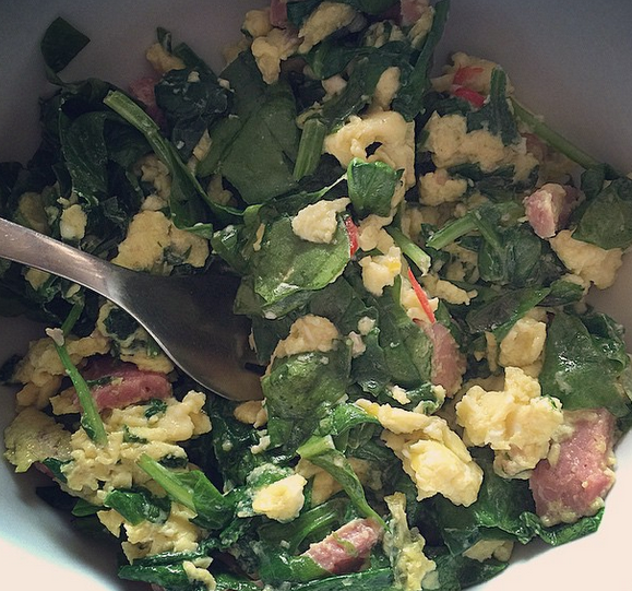 It doesn't get much quicker than scrambled eggs with ham and spinach.