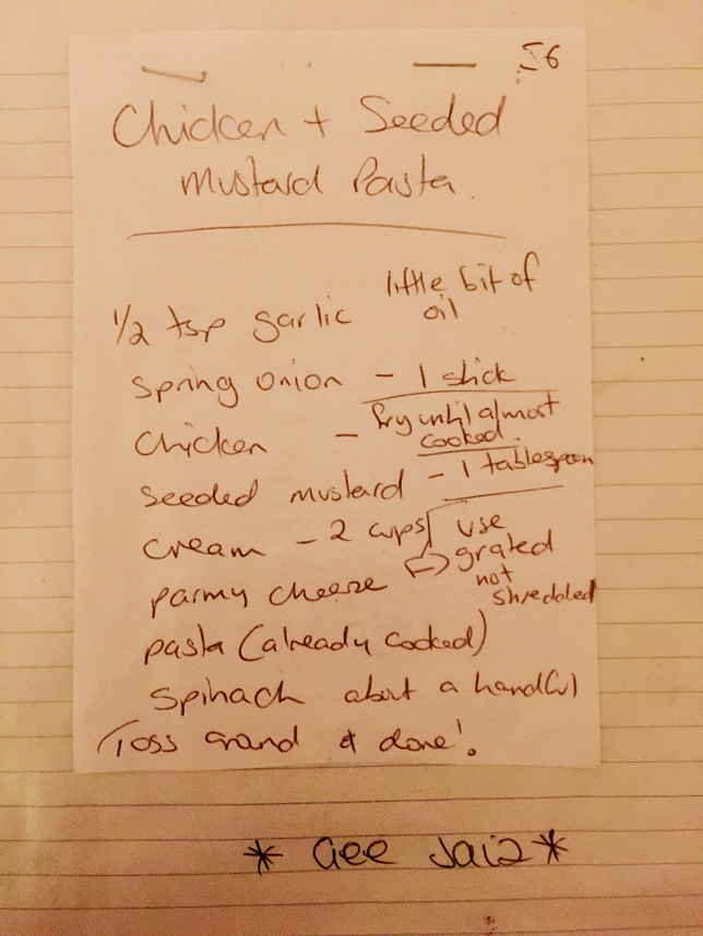 Original recipe jotted down from Gee Jaiz Cafe